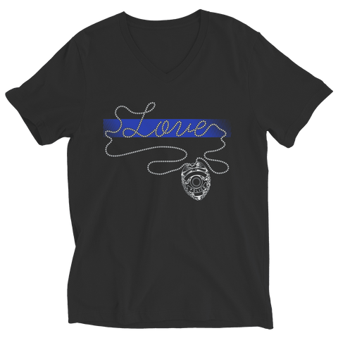 Image of Thin Blue Line Love V-Neck Shirt