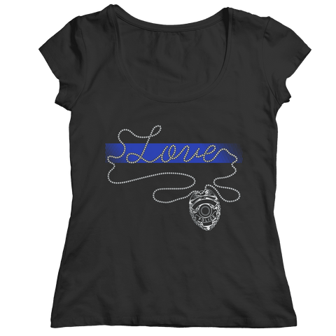 Thin Blue Line Love Ladies V-Neck Shirt