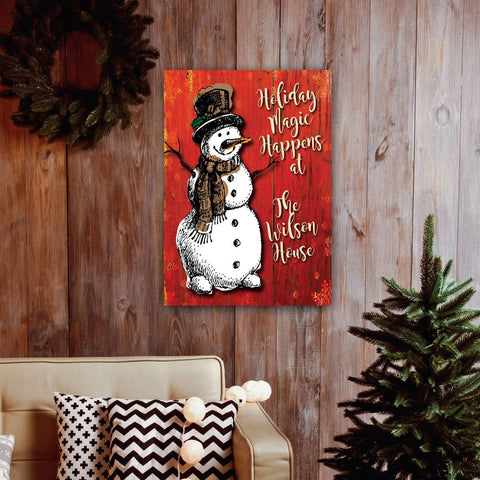 Holiday Snowman Canvas Art Add Family Name