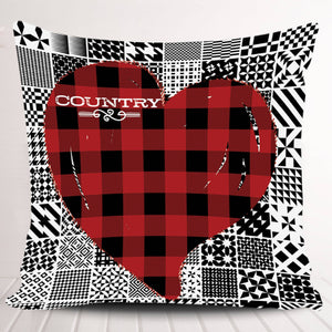 I Love Country Heart Patchwork Pillowcase