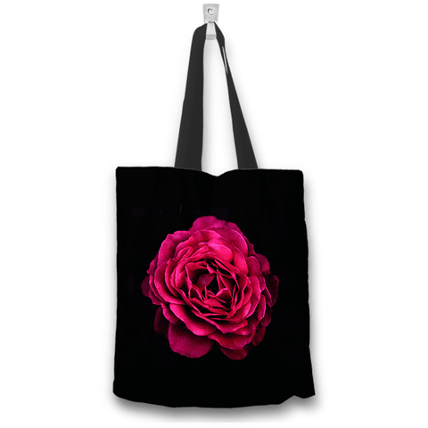 Pink Rose Black Tote Bag 2 sides 2 designs