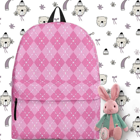 Argyle Pink Backpack In Three Sizes