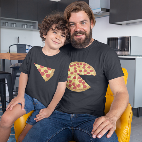 Image of pizza and slice dad kid shirts