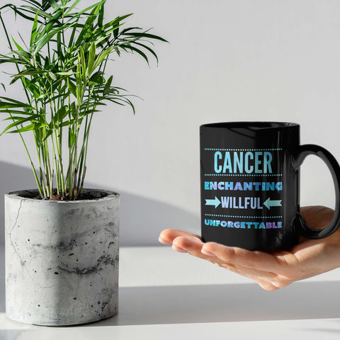 cancer traits horoscope black coffee mug