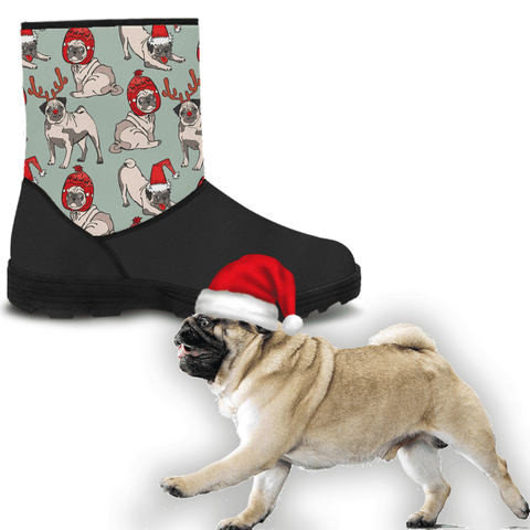 Pug Dog Holiday Faux Fur Boots
