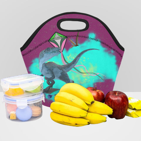 Image of dinosaur insulated lunch bag with zipper neoprene