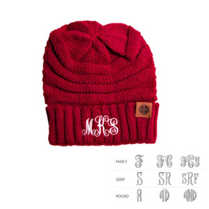 Monogram Adult Knit Beanie Cap