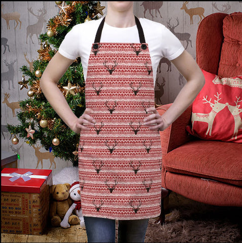 Image of reindeer allover print apron