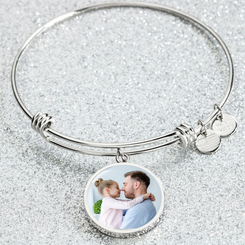 silver round bangle photo bracelet inscribed