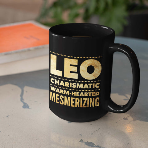 Image of leo astrology horoscope quote black mug