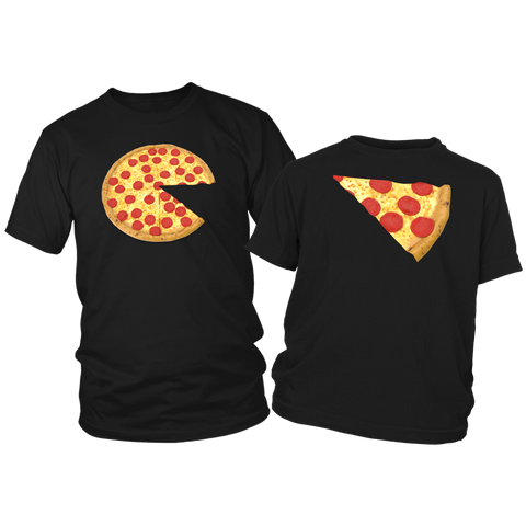 Image of pizza and slice dad kid t-shirts