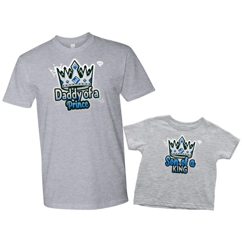 Image of daddy of a prince son of a king matching shirts