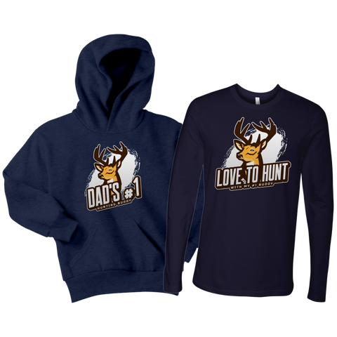Image of Father Child Hunting Buddies Matching Shirt and Hoodie