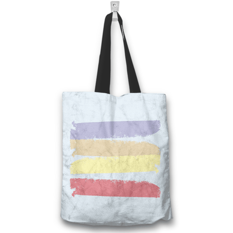 Image of Seashells Beach Blue Tote Bag Back View