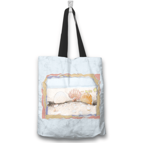 Image of Seashells Beach Blue Tote Bag
