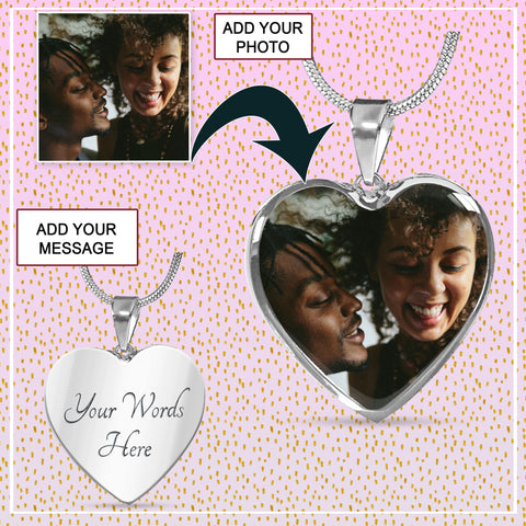 Personalized Heart Photo Necklace for Couples