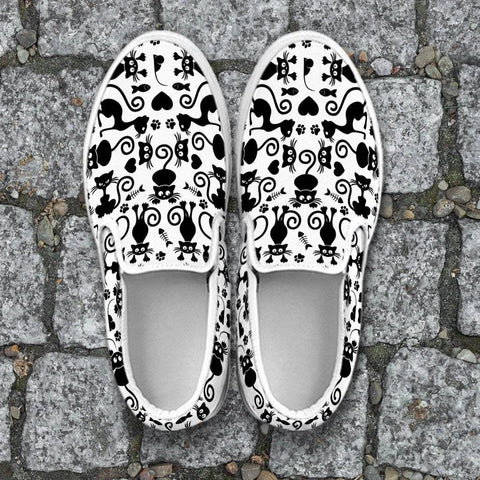Image of Cats White Slip Ons