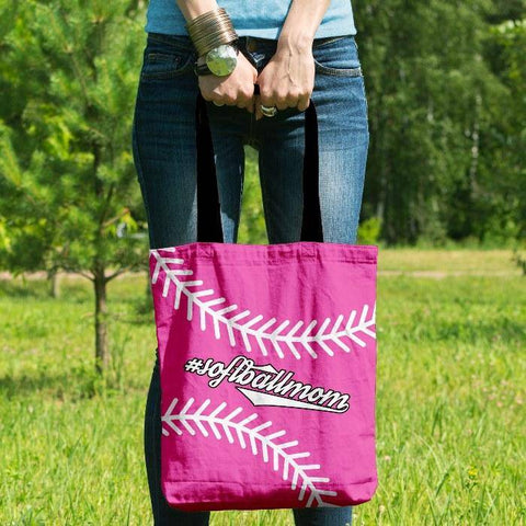 Image of Softball Mom Pink Tote Bag