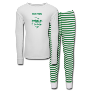 Kids' Pajama Set Santa's Favorite - white/green stripe