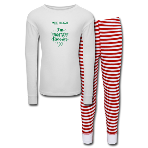 Image of Kids' Pajama Set Santa's Favorite - white/red stripe