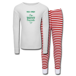 Kids' Pajama Set Santa's Favorite - white/red stripe