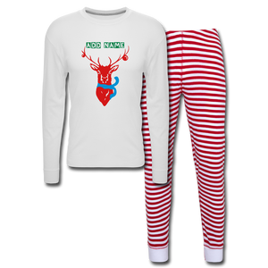 Personalized Men's Holiday Pajama Set - white/red stripe