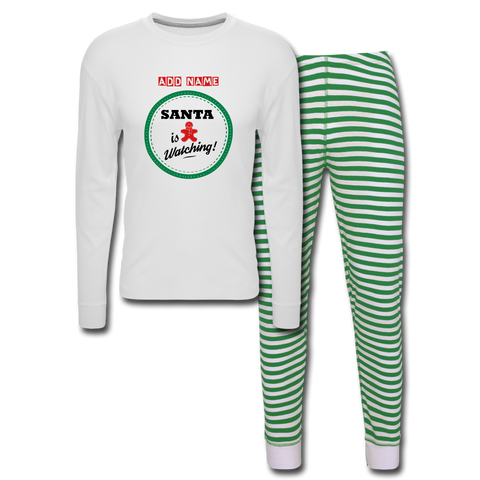 Image of Personalized Women's Holiday Pajama Set - white/green stripe