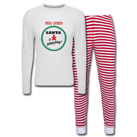 Personalized Women's Holiday Pajama Set - white/red stripe