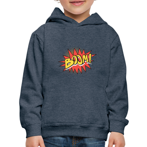 Image of Kid's Graphic Boom Hoodie - heather denim