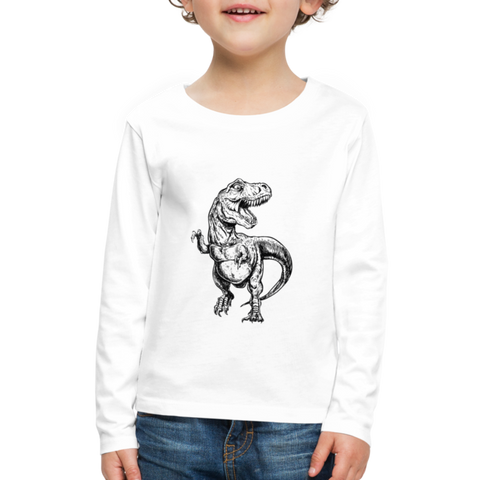 Image of Kids T-Rex Long Sleeve Shirt - white