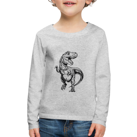 Kids T-Rex Long Sleeve Shirt - heather gray