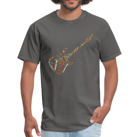 Image of Guitar Dad Word Art T Shirt - charcoal