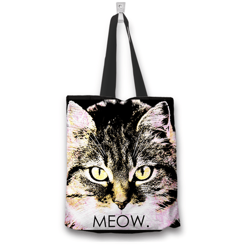 Image of Tabby Cat Face Print Tote Bag