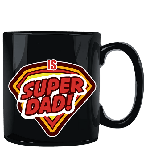 Super Dad Black Mug