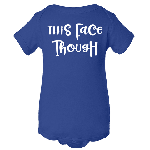 Image of This Face Though Baby Royal Blue One Piece