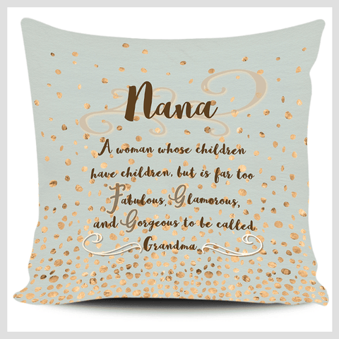 Image of Nana Too Fabulous to be Called Grandma Gold Green Allover Print Pillow