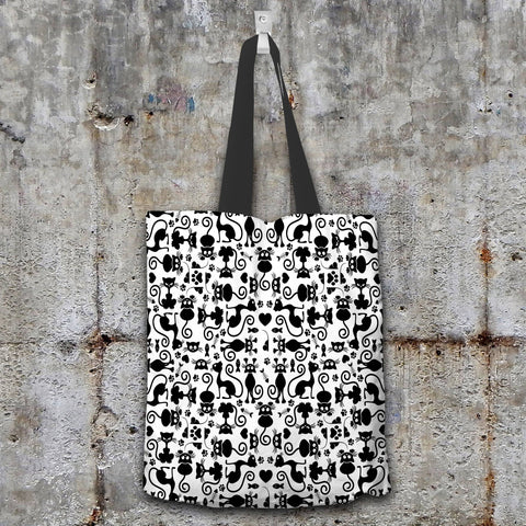 Image of Cat Lovers Black and White Tote Bag