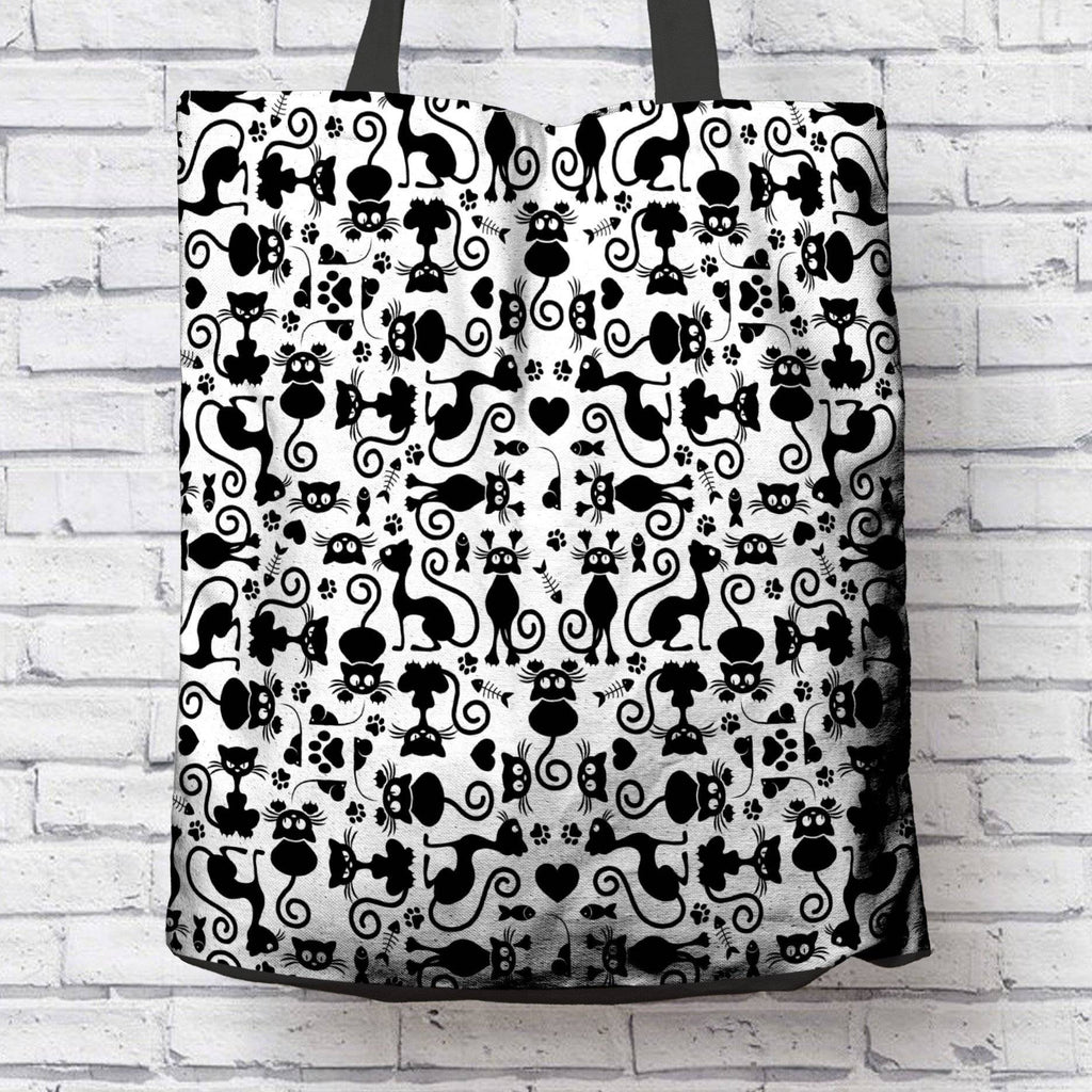 Cat Lovers Black and White Tote Bag