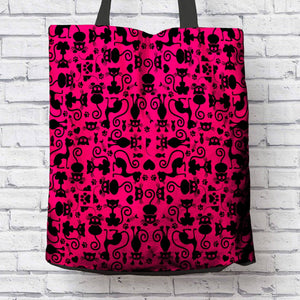 Cat Lovers Pink and Black Tote Bag