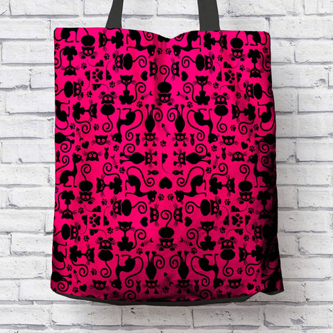 Image of Cat Lovers Pink and Black Tote Bag
