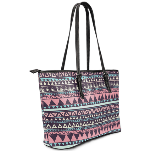Image of Chocolate and Pink Aztec Design Vegan Leather Tote Left View