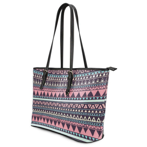 Image of Chocolate and Pink Aztec Design Vegan Leather Tote Right View