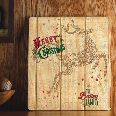 reindeer holiday art add family name