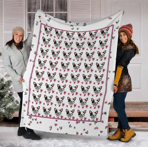 Image of french bulldog blanket pink hearts