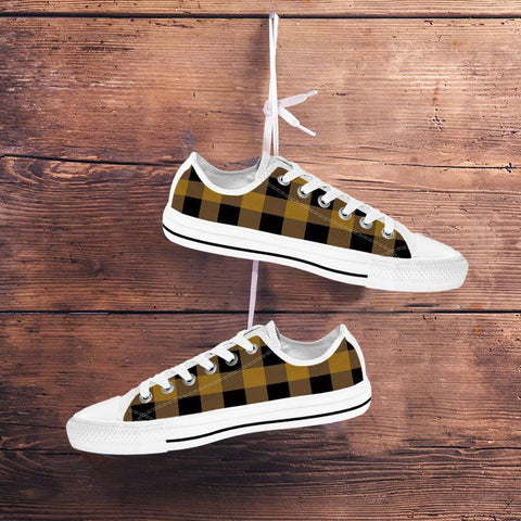 Yellow Plaid Sneakers Shoes