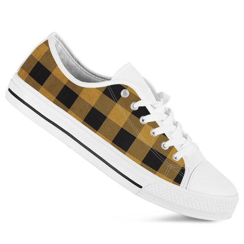 Gold Buffalo Plaid Ladies Low Top Shoes