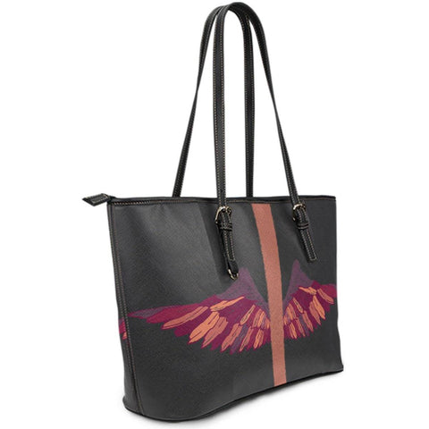 Image of Wings Artwork Vegan Leather Tote Side View