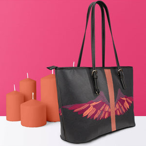 Wings Artwork Vegan Leather Tote Side View