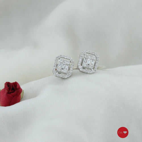 0.43 Ct G-H Color Pırlanta Baget Küpe - I'm Diamond