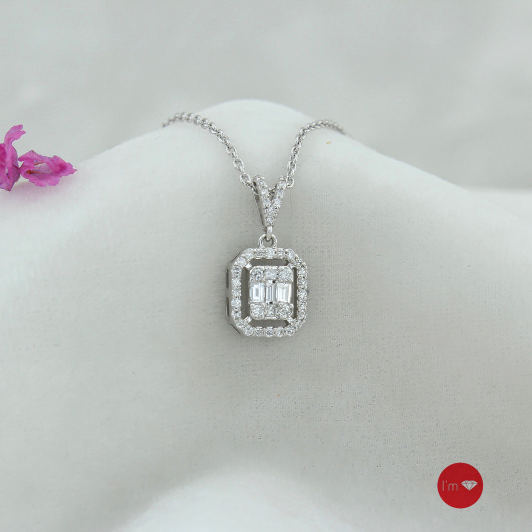 0.24 Ct F-G Color Pırlanta Baget Kolye - I'm Diamond